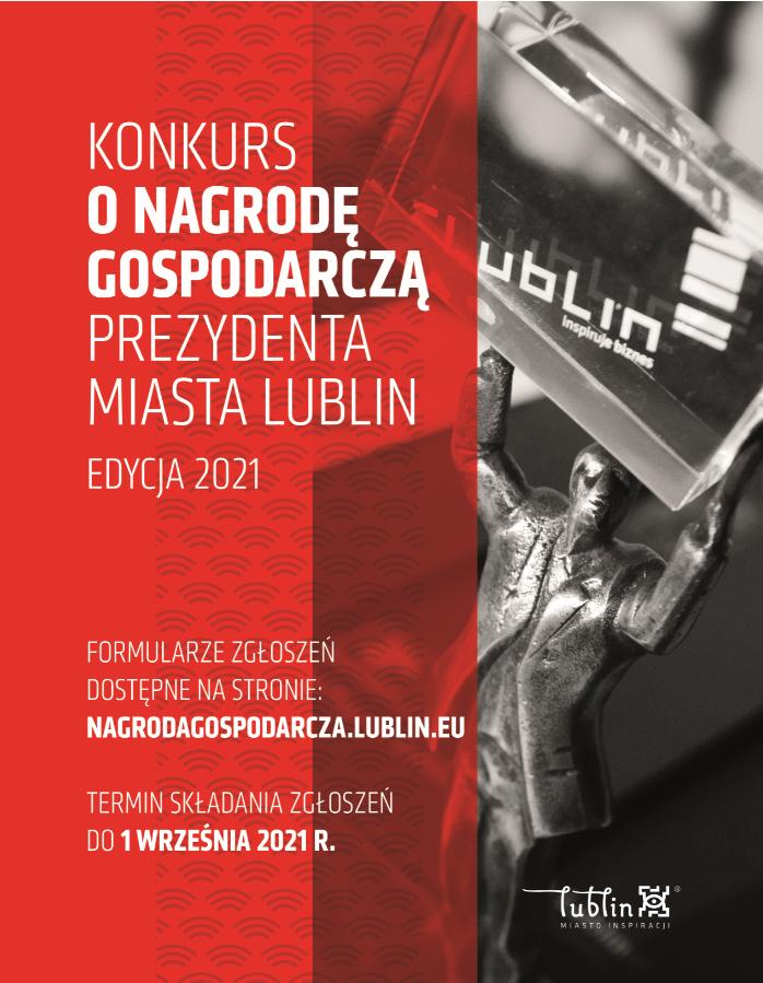 Grafika przedstawia plakat dot. Konkursu oNagrodę Gospodarczą Prezydenta Miasta Lublin